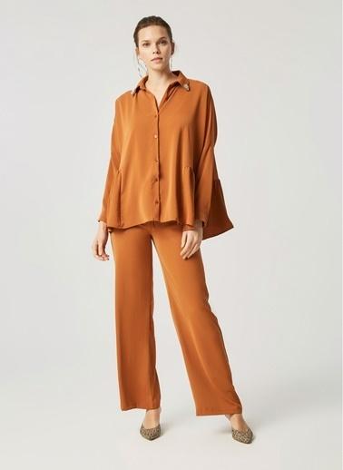 Monamoda Bol Kesim Yakası Taşlı Bluz Takım Üst Oranj